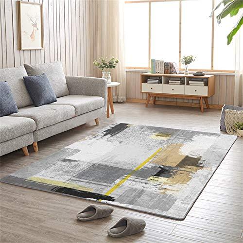 LMDY Alfombra hogarSala de Estar Alfombra nórdica Arte Abstracto Pintura Estilo sofá Manta Mesa de Centro Manta cojín Dormitorio Cama Completa Manta gris180*230cm