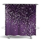 NiYoung Shower Curtain Popular Beautiful Dark Purple Sparkling Glitter Sparkles Pattern Shower Curtain Fashion Curtain Bathroom Accessories Modern Shower Curtain 70 x 72 in