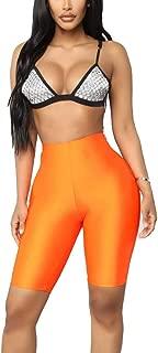 VENCANN Women's Shiny Biker Shorts Empire Waist Bodycon Active Gym Workout Yoga Short Skinny Stretch Bright Shorts