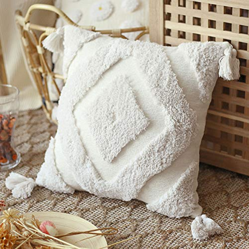 LKHTR Cushion Cover,Tuft Tassels Handmade Decoration Pillow Cover for Home Decoration Sofa Bed 45x45cm