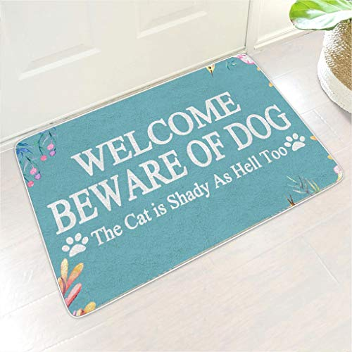 Knowikonwn Welcome Mat Welcome Beware of Dog Floor Mats Non Slip Indoor Outdoor Apartment use - for Home Decor white4 24x35 inch