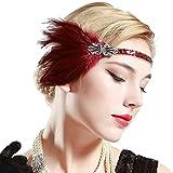 ArtiDeco Bandeau Gatsby, Headband Cristal 1920s Bandeau Plume Gatsby Flapper Accessoires Charleston Bandeau Année 20 Vintage Partie à Thème