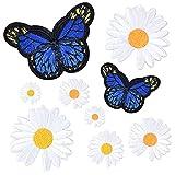 9 Piezas Flores Mariposas Margarita Patch Sticker, Bordados Coser Hierro en...
