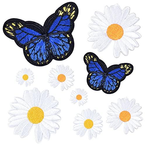 9 Piezas Flores Mariposas Margarita Patch Sticker, Bordados Coser Hierro en Parches, Parches Apliques de Plancha de Costura, Decorativa Pegatina de Parche para Ropa Mochila Gorras Bolsas Jeans