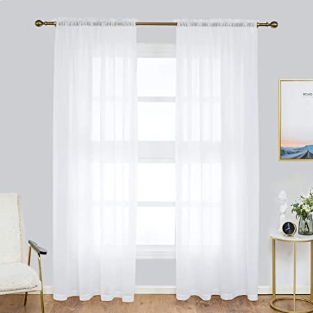 Anjee Voile Sheer Curtain 52 X 84 Inch 2 Panels Semi Transparent Chiffon Curtains Sheer White Window Curtains For Bedroom Living Room 132 X 213 Cm Amazon Co Uk Kitchen Home