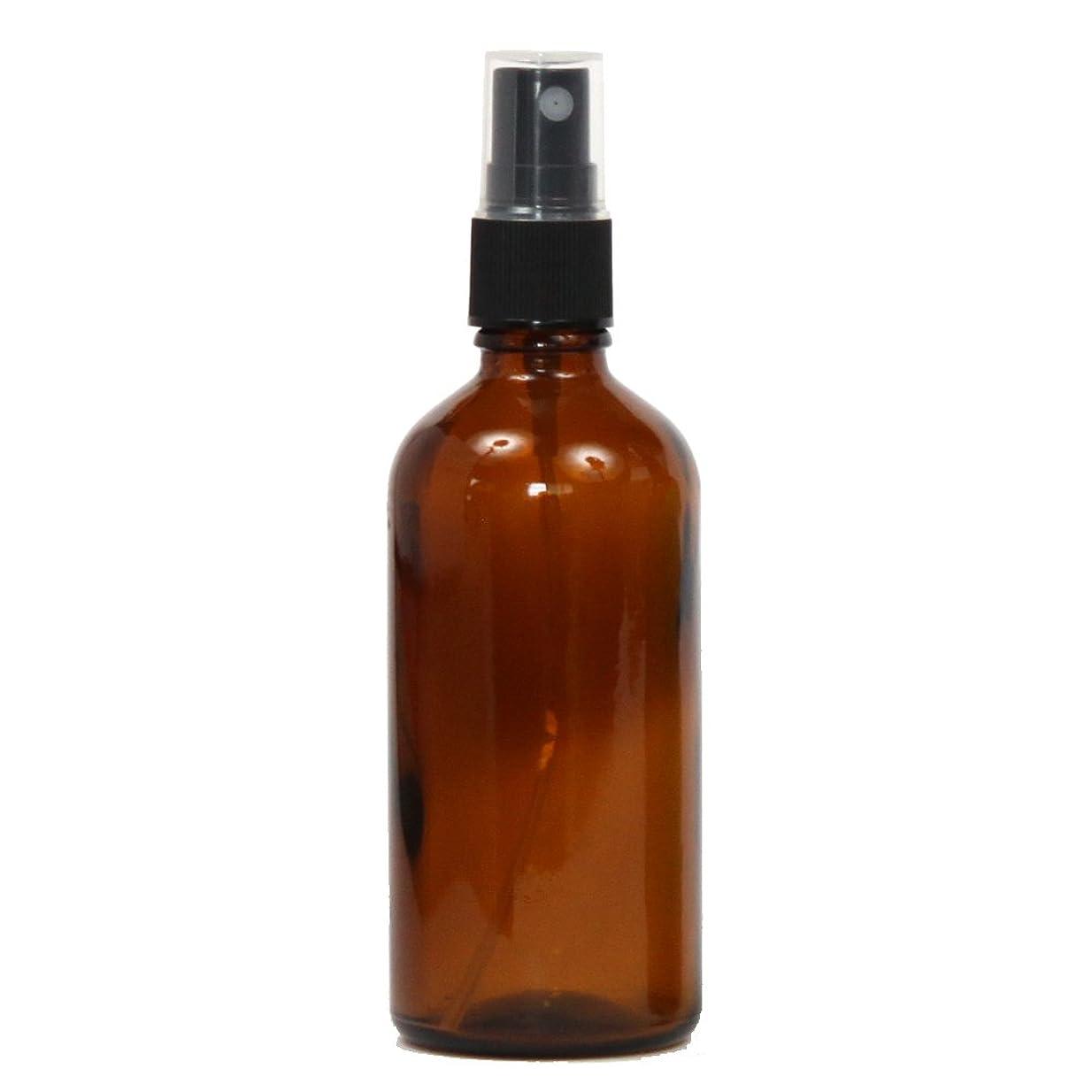 ねばねば蘇生するゆるいスプレーボトル ガラス瓶 100mL 遮光性ブラウン(アンバー) おしゃれアトマイザー ミスト空容器