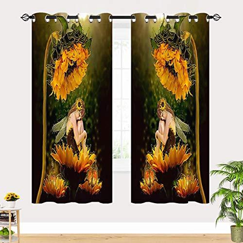 ANHOPE Fantasy Curtains - Girls Love Flower Fairy Angel Sitting on Yellow Sunflower 3D Print Pattern Waterproof Fabric Grommet Window Drapes for Kids Nursery Baby Teen Bedroom 2 Panels W27.5 x L39