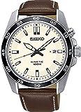 Seiko Herren Analog Kinetik Uhr mit Leder Armband SKA787P1