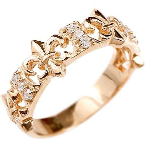[アトラス]Atrus リング レディース 18金 ピンクゴールドk18 ダイヤモンド ユリの紋章 透かし 指輪 24号
