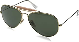 Bundle: Ray-Ban RB3029 Outdoorsman II Arista/Crystal Green 62mm & Carekit