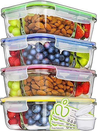 Prep Naturals Lot de 4 boîtes de conservation en verre avec couvercle de 1000 ml - 3 compartiments - Boîte à lunch, Bento, boîtes de rangement - Passe au micro-ondes, au four et au congélateur