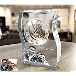 Personalized Laser Engraved Glass Mantel Clock, Custom Anniversary Crystal Table Clock as a Desk Accessory, Unique Desk Clock, Wedding Gift