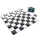 Garden Games 804 - Dame Figuren groß aus hochwertigem, wetterbeständigem Kunststoff, 10 cm Durchmesser, schwarz und weiß -
