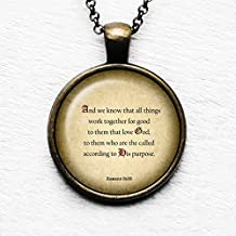Romans 8:28 Love God According to his Purpose King James Version KJV Bible Pendant Necklace