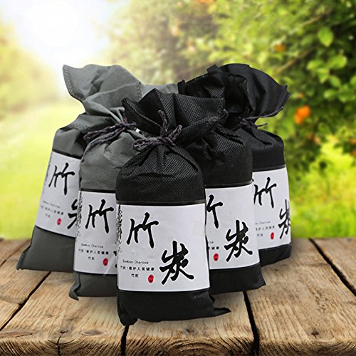 MeterMall 5 STÜCKE Bambuskohle Tasche Tuch Tasche Lufterfrischer für Auto Haus Geruch Absorber Dekoration Grau