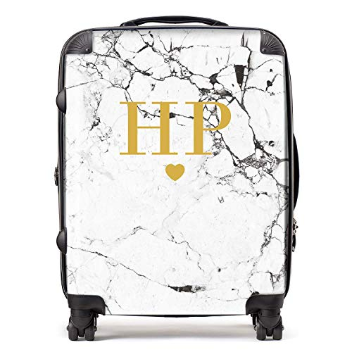 Personalised White & Gold Marble Initials & Heart Monogram Suitcase with TSA Lock 4 Spinner Wheels Large Expandable Luggage 78cm 95Ltr