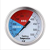 Mangsen 2 Inch Barbecue Charcoal Grill Smoker Temperature Gauge BBQ Pit Thermometer with Fahrenheit and Heat Indicator for Meat Cooking (1 Pack)