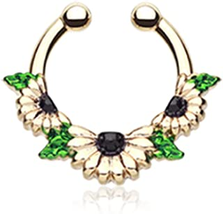 Freedom Fashion Colorline Sparkle Trident Fake Septum Clip-On Ring