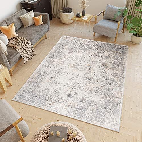 Tapiso Valley Teppich Kurzflor Vintage Hellgrau Blumen Rahmen Orientalisch Used Effekt Meliert Verwischt Wohnzimmer Schlafzimmer 160 x 220 cm