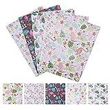 Geschenkpapier,Mehrfarbig Bedruckt(10-Blatt-Wertverpackung) Recycelbares Gefaltetes Papier Für Geburtstage,Valentinstag Weihnachten-Süßes Flamingo-Musterdesign 50X70CM