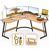 Cubiker Modern L-Shaped Desk Computer Corner Desk, PC Laptop Writing Study Desk for Home Office Wood & Metal, Natural