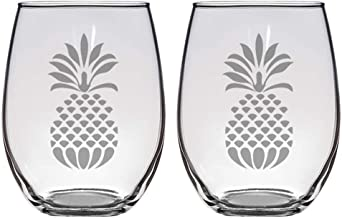 Set of 2 stemless wine glasses with pineapples, great gift for him or her for birthday, Christmas