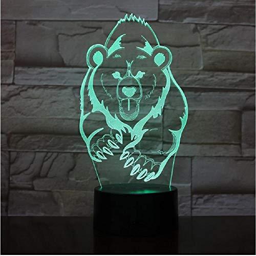 Correr Grizzly oso 3D LED noche luz multicolor RGB dormitorio decoración 3D lámpara para niños regalo Navidad juguetes lámpara