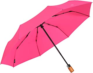 Fully Automatic Opening and Closing Folding Umbrella, Rain and Rain Umbrella, Simple Solid Color Business Umbrella, A Variety of Colors Available HYBKY (Color : Red)