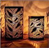 ZEYA Juego de 2 portavelas de metal negro | Decoración dorada | Decoración perfecta para el salón | Farol hojas | Decoración moderna