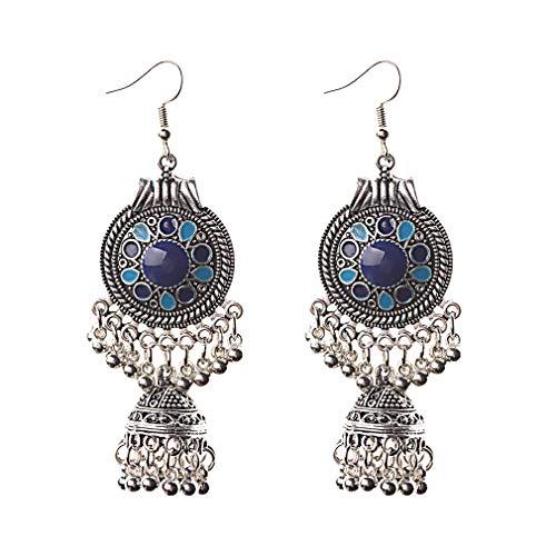 Orecchini rotondi a forma di gabbia di uccelli con nappe e gancio vintage bohémien, orecchini pendenti lunghi, idea regalo, colore: blu reale