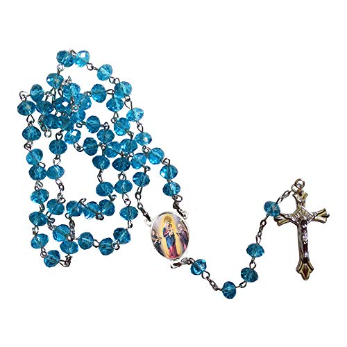 Virgen de Chiquinquira Our Lady of the Rosary of Chiquinquira Aquamarine Crystal Faceted Rondelle 8mm Beads Rosary with Silver Plated Crucifix and Medal Centerpiece Includes a Prayer Card