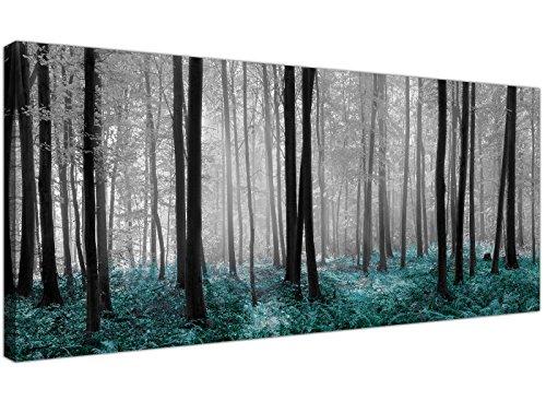 Wallfillers - Lienzo impreso con el diseño de un bosque en tonos blanco, negro y azul verdoso