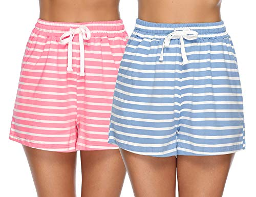Hawiton Damen Schlafanzughose Pyjamahose Kurz Baumwolle Gestreift Nachtwäsche Sleep Hose Pants Blau & Rosa M