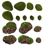 YARNOW 14 Piezas de Piedras Artificiales de Musgo Bonsái Piedras de Musgo Verde Bolas de Musgo Falso Decoración para Manualidades Florales Decoración de Jardín de Hadas