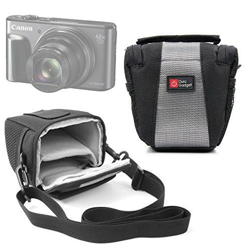 Petite sacoche pour Canon PowerShot G7 X Mark II et SX720 HS, Sony ILCE-5000L / 5000YB et Cyber-SHOT DSC-HX90, Fujifilm X70 et X-E2S appareils photo compacts - couleur noir / gris, poches et bandoulière - DURAGADGET