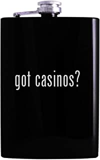 got casinos? - 8oz Hip Alcohol Drinking Flask, Black
