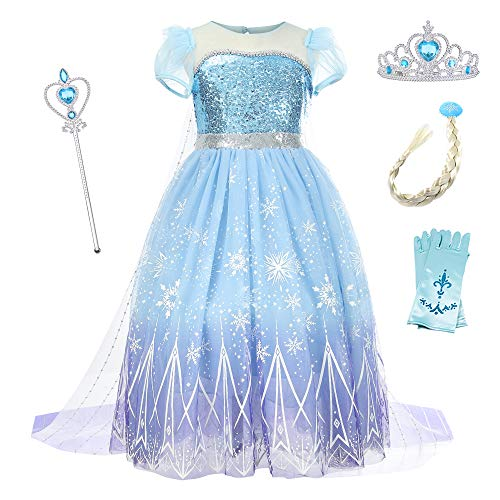 O.AMBW Vestido Frozen 2 Reina Elsa Disfraz Anna y Elsa Cosplay Princesa Disfraces y Accesorios Vestido con Capa Fiesta Carnaval Halloween Regalo Cumpleaos Navidad Reyes para nias 2 a 9 aos