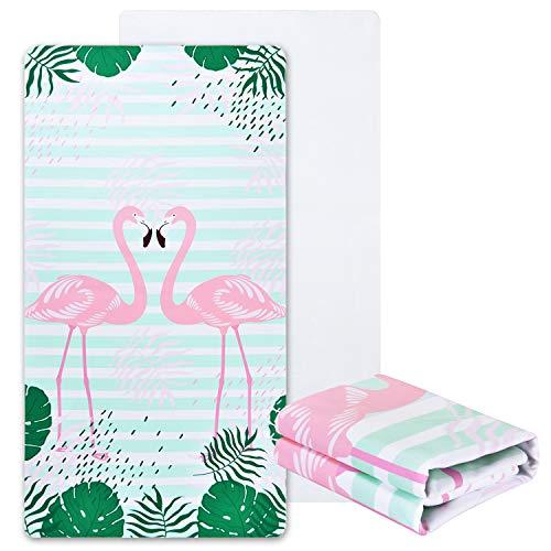 Alishomtll mikrofaser Strandtuch Flamingo groß mit Motiv Badetuch weich Stranddecke Ultraleicht Handtuch Saugfähig Schnelltrocknend 80 x 150CM Bunt
