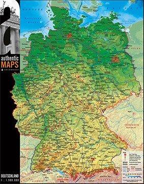 Vogt Foliendruck GmbH 3D - Landkarte Deutschland 60 x 47 cm Karte Germany