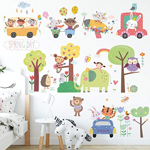 Cute Animals Self Adhesive Stickers Spring Forest Outdoor Wallpaper Cartoon Home Decor Wall Sticker For Kids Living Room Bedroom