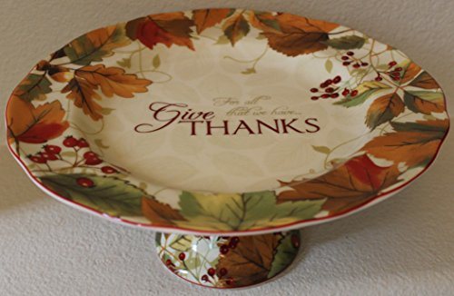 "222 Fifth Harvest Festival ""Give Thanks for All That We Have"" Thanksgiving Cake Plate - Approx. 10-3/4"""