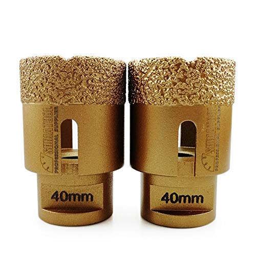 SHDIATOOL Dry Diamond Drill Core Bit 2PK 40mm Hole Saw with M14 Thread for Porcelain Tile Granite Marble