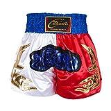 Short De Combat Muay Thai pour Hommes MMA Kick Boxing Grappling Shorts De Combat Arts Martiaux Gym Entraînement Satin Bleu/Jaune/Noir Shorts Bleu M