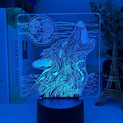 Luz nocturna 3D,istancia, 16 colores cambiantes USB LED lámpara de mesa decoración para niños Navidad Halloween cumpleaños El Precioso regalo para el corazón Decoraciones