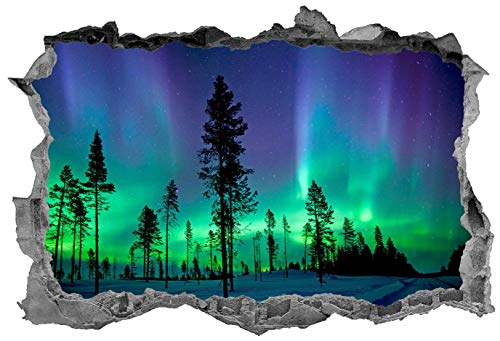 3D Wall Sticker, Removable Wall Mural Decals, Wall Art Decor for Livingroom Bedroom Nursery, Northern Lights, Norway, Landmark, Scenery, Aurora - 22' at the Longest End
