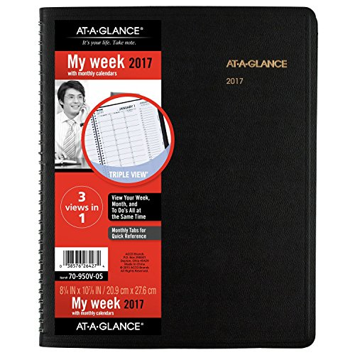 """AT-A-GLANCE Weekly / Monthly Appointment Book / Planner 2017, Triple-View, 8-1/4 x 10-7/8"""", Black (70-950V-05)"""