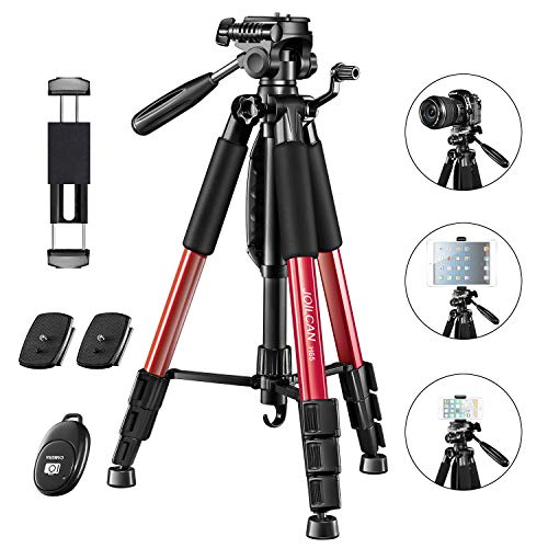 """JOILCAN 66"""" Camera Tripod, Aluminum Lightweight Phone/Tablet Stand 11 lbs Load with Universal Phone/Tablet Mount,2PC Quick Plates for Traveling,Live Streaming, Video Recording(Red)"""