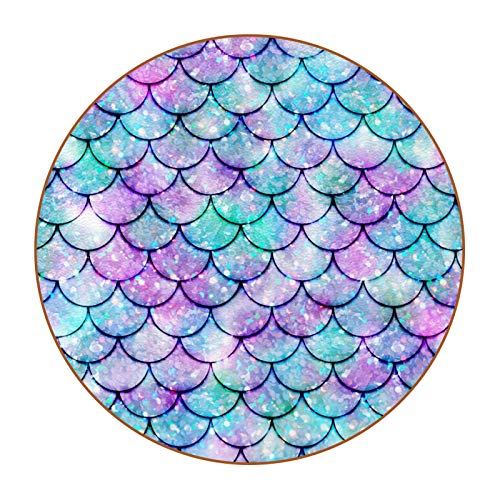 Microfiber leather Coasters with Round Edge 4.3 inches 6pc Heat-Resistant Reusable Saucers for Drinks Wine Glasses Plants Cups & Mugs,Colorful Watercolor Mermaid Scale