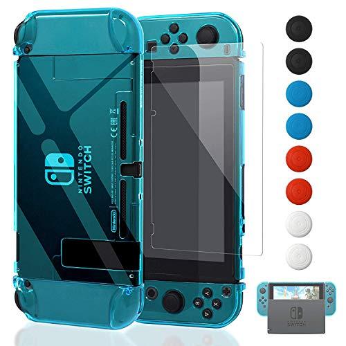 FYOUNG Dockable Hülle für Nintendo Switch mit Displayschutz, Transparent Schutzhülle mit Schutzfolie und Griff Cover Case für Switch und Joy-Con Controller (Blau)