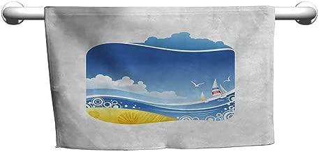 Mdxizc Beach Super Soft Towel Exotic Wavy Sea with Seashells Wind Boats Seagulls Open Skyline Cartoon Style Unique Vitality Blue Yellow White W12 xL28